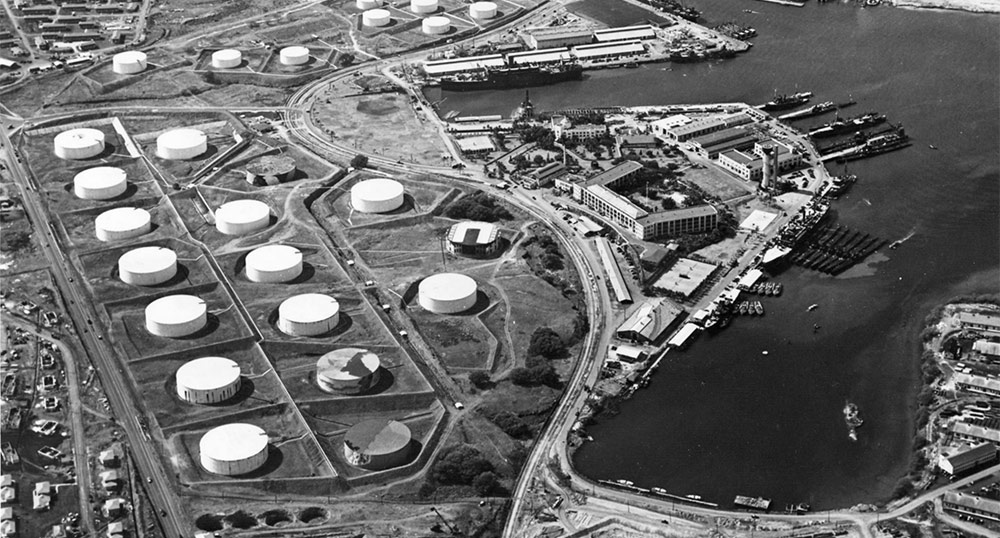 oil tank area was south of Hickam Field