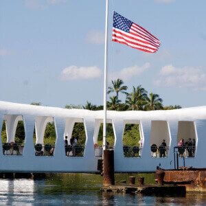 Arizona Memorial Front Face Half Flag