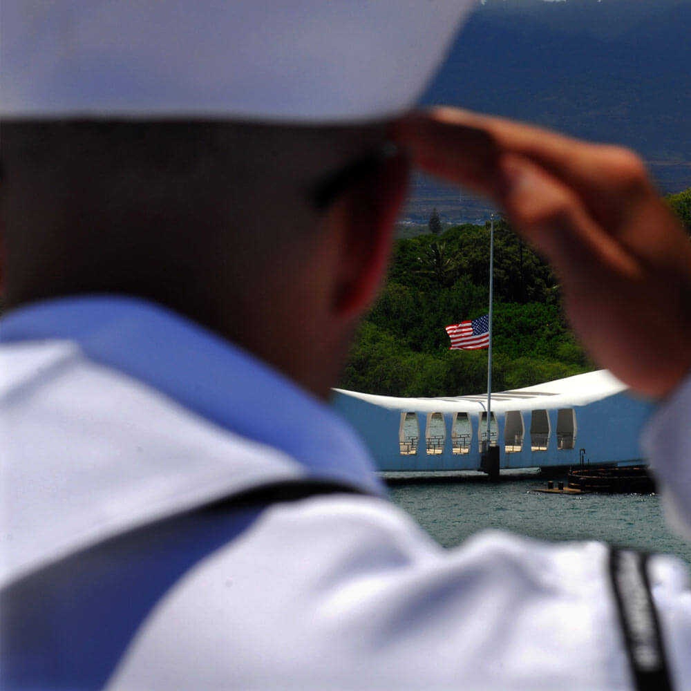 USS Arizona Memorial Soldier Salute