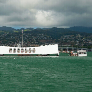 Arizona Memorial View from Water with Ferry