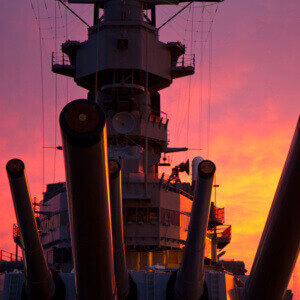 Battleship Missouri Sunset
